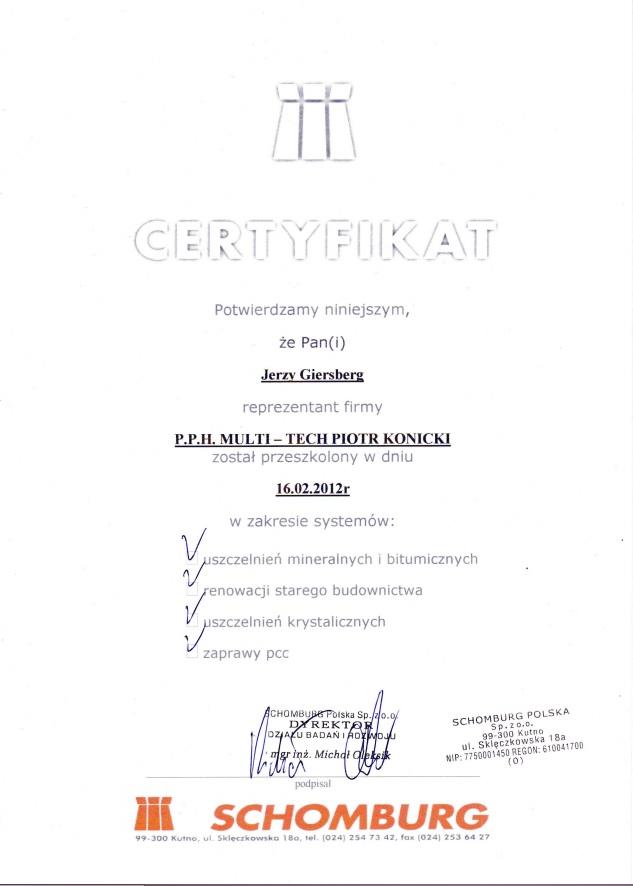 Certyfikat jakości produktu firmy Schomburg